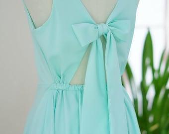 Pale mint green dress mint backless dress green party dress mint prom dress green cocktail dress bow back dress green bridesmaid dresses