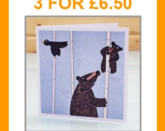 Assorted multipack of 3 greeting cards - birthday cards, animal cards, animal lover cards, cat cards, dog cards, bear cards, chicken cards