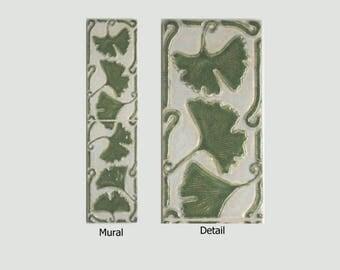 Ginkgo Leaves Arts and Crafts MUD Pi Decorative Handmade 4x16 Ceramic Tile Mural Horizontal or Vertical Orientation