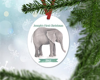 Personalized First Christmas Ornament, Baby Boy Keepsake Ornament, Baby's 1st Christmas, Watercolor Elephant, Christmas Gift (024)