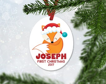 Personalized First Christmas Ornament, Baby Boy Keepsake Ornament, Baby's 1st Christmas, Christmas Baby Fox, Christmas Gift (042)