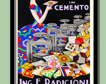 Art Deco Poster. Italian Tiles Advertising .Large A2 Print .Art Deco Woman. 1930s Prints . Deco Prints Art Deco Wall Art. Vintage  Prints