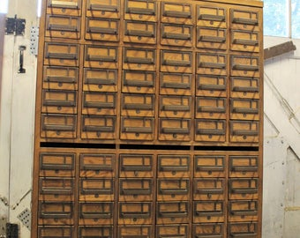 Dewey Decimal....Vintage Library Card Catalog File 72 Drawers, Library File, Card Catalogue, Card File