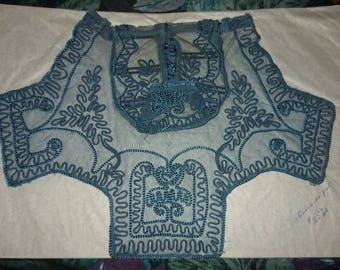 Vintage Victorian, Lace Teal Blue Dickie Front, Handmade, Boho Cool, Gypsy Finery, Steampunk Collar, Victorian