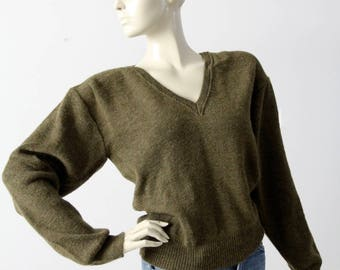 vintage Dutch army sweater, wool v-neck pullover