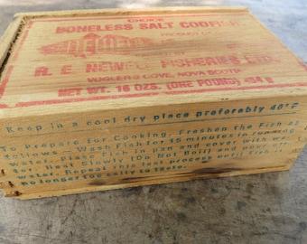Small Vintage Red Advertising Salt Codfish Wooden Storage Box