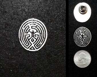 Hand Cast Maze  1 in. Lapel Pin