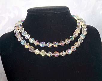 Coro Aurora Borealis Choker, Aurora Borealis Necklace, Double Strand Aurora Borealis Necklace, Aurora Borealis, Crystal Necklace