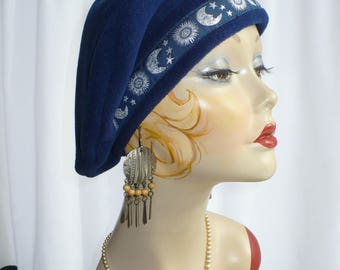 Navy Blue Beret with Celestial Trim
