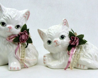 Vintage White Ceramic Kittens High Gloss LIS Los Angeles