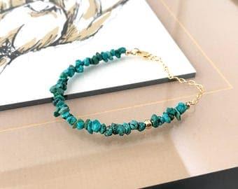 Gold Raw Turquoise Bracelet