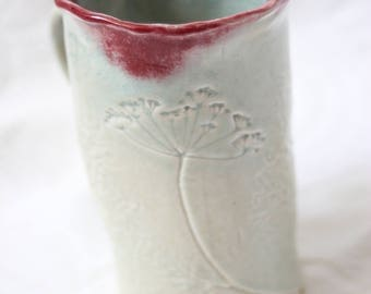 Botanical Mug with Dill Flower and Fronds, Porcelain in Glossy Green and Red