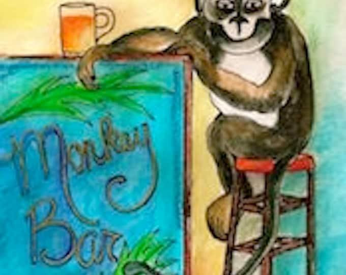 Monkey Bar-Whimsical Art Print by SQ Streater-Free Shipping