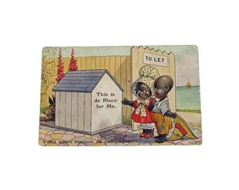 Authentic 1940s Black Americana Postcard - This is de Place for Me - Used Postcard Politically Incorrect Classic Black Americana Postcard