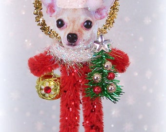 Chihuahua Christmas Chenille Feather Tree Ornament