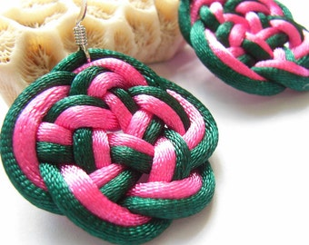 925 Silver Earrings, by Chinese Knot (Celtic Knot) - Dark Green and Pink or choose your own color