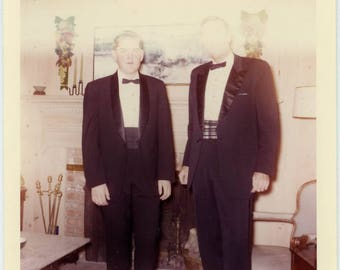 """1964 Vintage Color Photo """"The Men with the Glowing Alien Eyes"""" Odd Weird Mistake Exposure Light Leak Old Found Snapshot Vernacular - 150"""