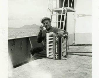 "Vintage Photo ""Music on the Seas"" Snapshot Antique Black & White Photograph Found Paper Ephemera Vernacular Interior Design Mood - 126"
