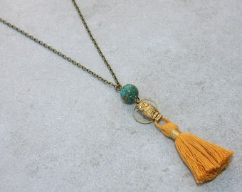 Gold Tassel, Mosaic Turquoise, and Brass Owl Necklace // Colorful Tassel Necklace // Owl Jewelry // Festival Jewlery // Gift for Her