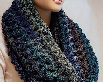 Crochet Infinity Scarf,  Teal Green Crochet Scarf, Fall Crochet Infinity Scarf, Blue Crochet Scarf, Purple Crochet Infinity Scarf,  Scarf
