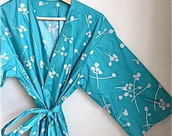 SALE. Teal Kimono Robe. Kimono. Bridal Robes. Bridesmaid Robes. Teal Buds. Dressing Gown. Knee Length. Small thru Plus Size Kimono