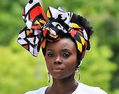 Royal Angolan Tribal Print Head Wrap Gift Idea Mom Women Turban Fashion  Holiday Fashion Scarf Mothers Day Gift For Mom