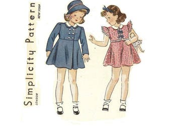 1930s Little Girls Dress and Coat Pattern, Size 2, Breast 21, Ruffled Cap Sleeves, Peter Pan Collar, Simplicity 3017, Vintage Sewing Pattern