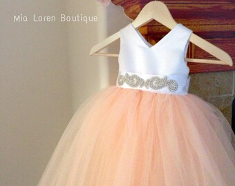 Flower Girl Dress, FREE SHIPPING, Blush, Peach, Wine, Dusty Blue, Choose Color, Rhinestone sash, made in the USA by Mia Loren Boutique