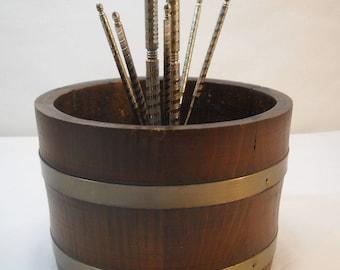 Vintage Wood Barrel Nutcracker Bowl With Nutcracker And 6 Picks FREE SHIPPING