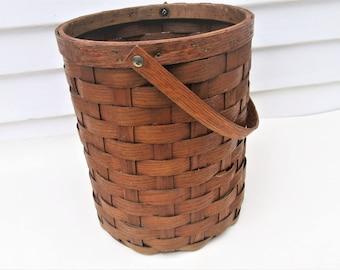 Vintage Bucket Basket   Wood Bucket   Woven Wood   Large Wood Basket with Handle   Wastebasket