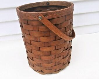 Vintage Wood Basket | Wood Bucket | Wood Slat Bucket | Wicker Basket | Woven Wood | Large Wood Basket with Handle | Wastebasket