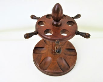 Vintage Pipe Rack | Wooden Pipe Stand | Pipe Display | Solid Wood Stand