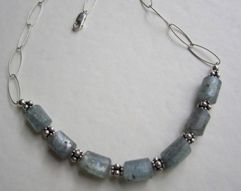 Sea Blue Kyanite and Sterling Necklace