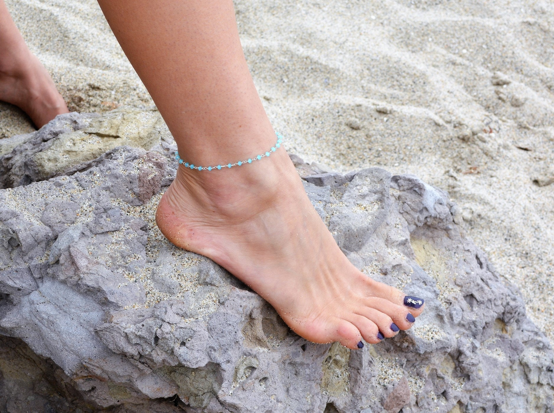 for aqua il and strand triple anklets women pjre her bronze market etsy seaside green anklet