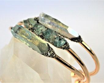 Raw Crystal Bracelet, Raw Gemstone Bracelet, Rough Gemstone Cuff, Boho Chic Jewelry, Bridesmaid Gift, Boho Bride, Bridal Bracelet