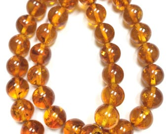 Amber Smooth Rounds-10mm