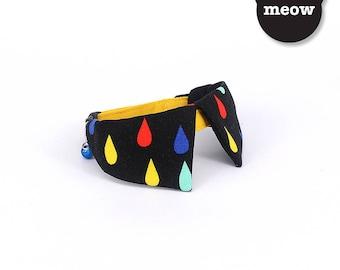 GOOOD Cat Collar   Dapper Sharp - Rainbow Drops    100% Black & Yellow Raindrops Cotton Fabric   Safety Breakaway Buckle