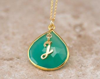 Chrysoprase Gemstone Pendant, Gold Monogram Necklace, Green Stone Necklace, Statement Necklace, Framed Gemstone, Unique Gift Ideas, BFF Gift