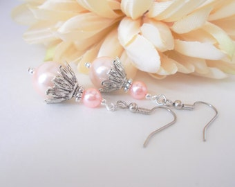 Blush Pearl Earrings Sterling Silver Bridesmaids Earrings Gift for Her, Pink Bridal Jewelry, Victorian Earrings Spring Wedding Jewelry Clip