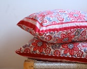 Pair Indian Hand Block Print Throw Pillows Organic Cotton Multi Print Gorgeous Red Blue Pattern Print 24x24