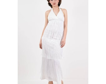 Vintage white fringe maxi dress / 1970s Halter neck column dress with extra long chainette fringe / XS