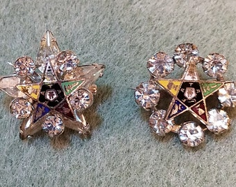 Vintage Eastern Star Pins (2) with Locking Clasp