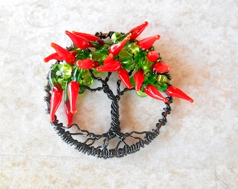 Chili Pepper Grand Tree of Life Necklace, Tree Necklace, Tree of Life, Tree of Life Necklace, Chili Peppers, Set