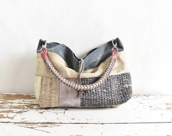 Suede Leather and Woven Patchwork Purse in Multi Shades  - Ready to Ship - One of a Kind Original