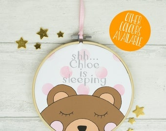 Personalised New Baby Gift, Nursery Wall Art, Hoop Art