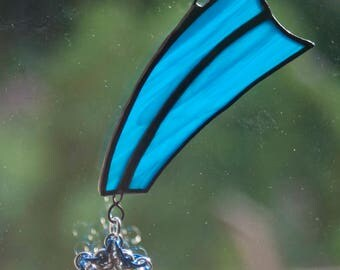 Shooting Star ornament - stained glass chainmaille mixed media
