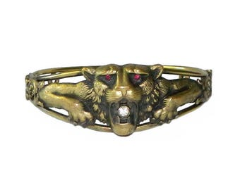 Antique Victorian Lion Bangle Bracelet