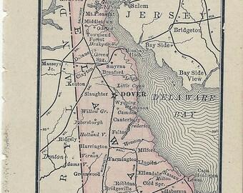 Antique Mini Map of Delaware 1887