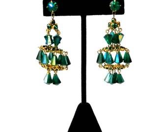 Vintage Green Chandelier Drop Earrings
