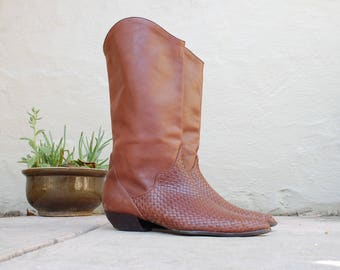 Vintage Womens 10 Chater Club Preakness Tall Pull on Brown Leather Boots Woven Braided Southwestern Riding Boots Boho Hippie Hipster Boots
